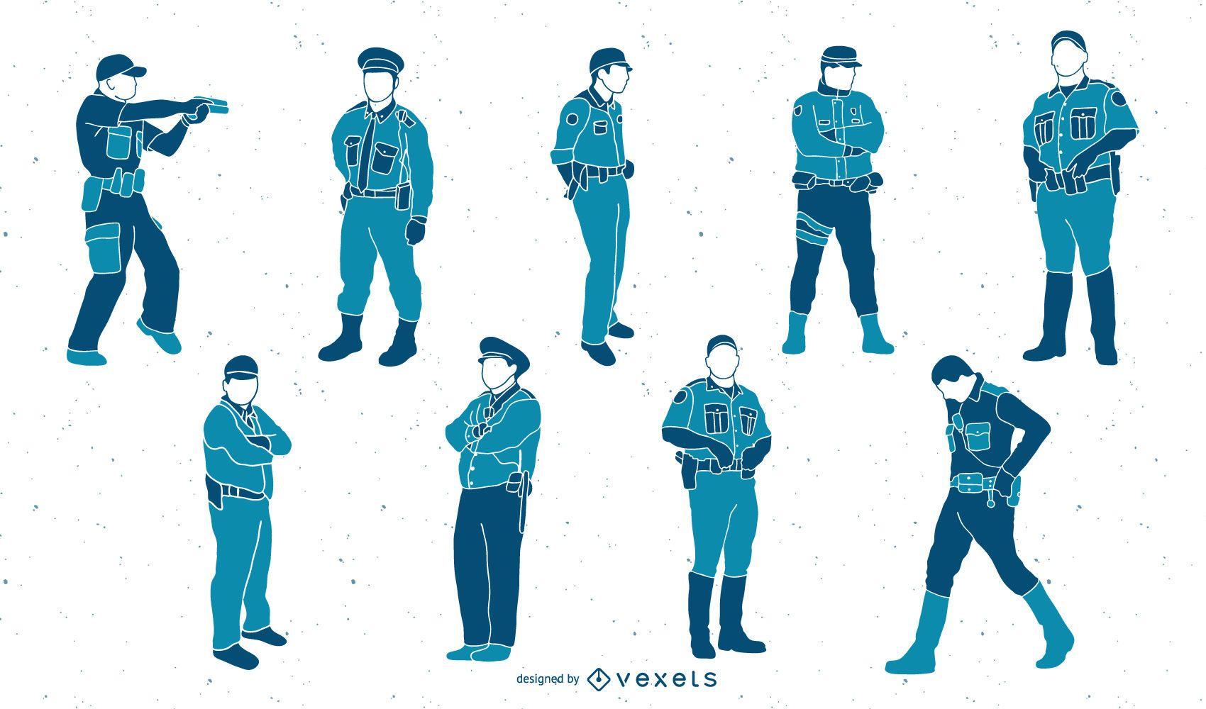 Conjunto de ilustración de policías