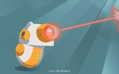 Robô com desenho de ilustração a laser