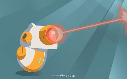 Robot with laser illustration design