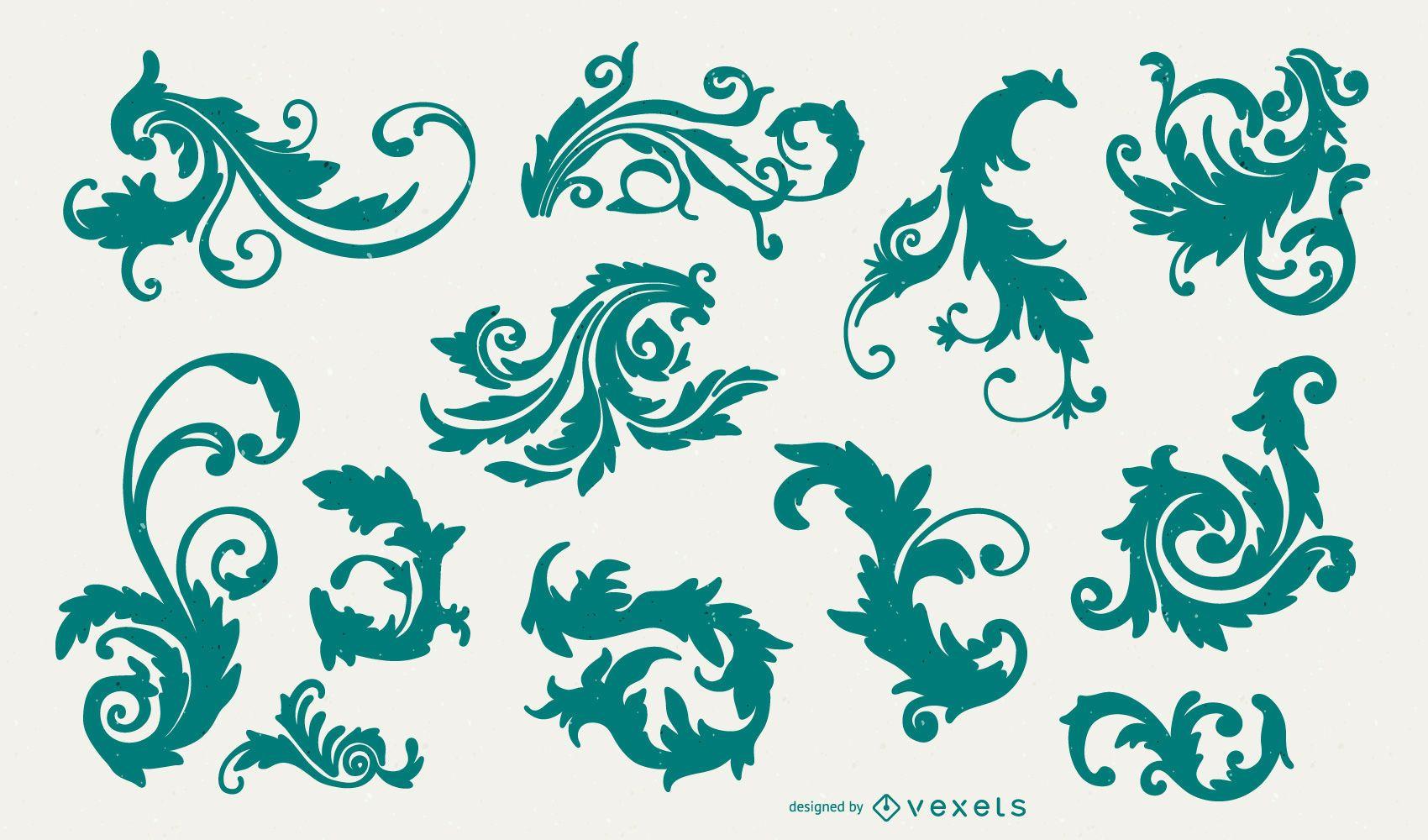 Victorian Ornamental Swirl Silhouette Pack