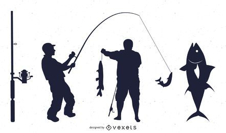 Fishing Silhouette Set