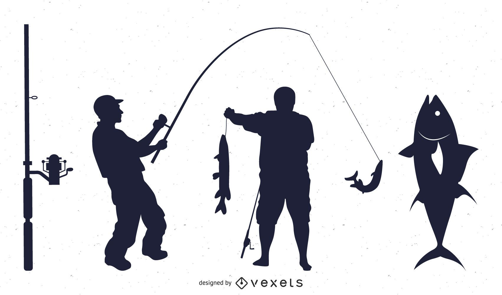 Conjunto de silueta de pesca