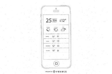 Freie Hand gezeichnete intelligente Telefon-Vektoren