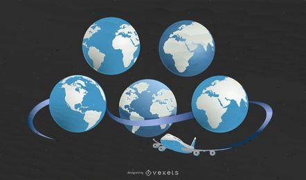 5 Karten der Erde mit dem Flugzeug