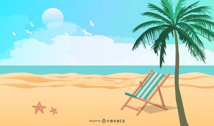 Férias de verão praia vector 5