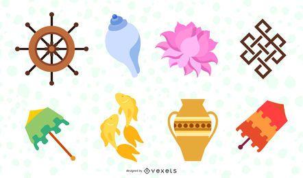 Oito gráficos de vetor de símbolos auspiciosos
