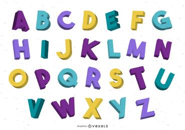 Colorido 3d alfabeto gráfico vetorial