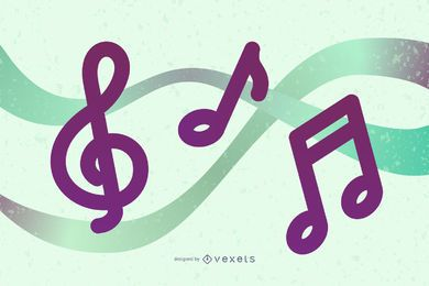 4 Musical Notes Vector Illustration