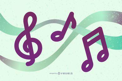 Ilustração vetorial de 4 notas musicais