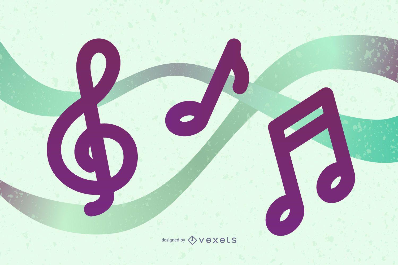 4 notas musicales ilustración vectorial