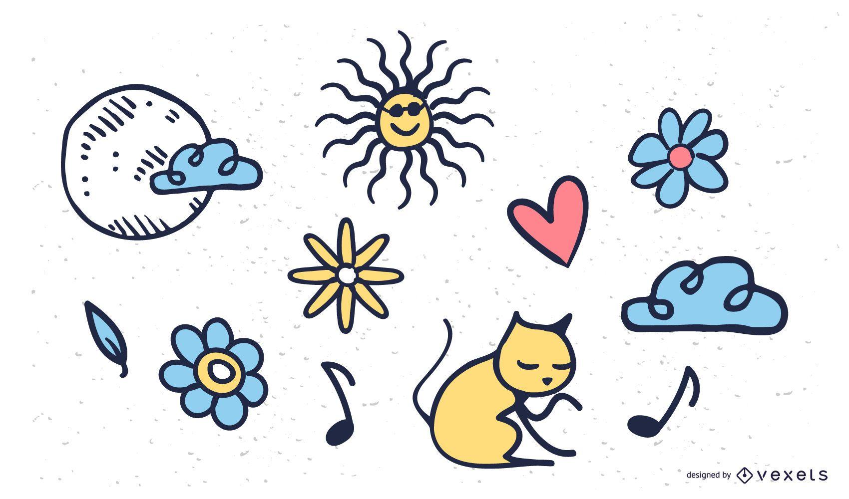 Cute doodles illustration set