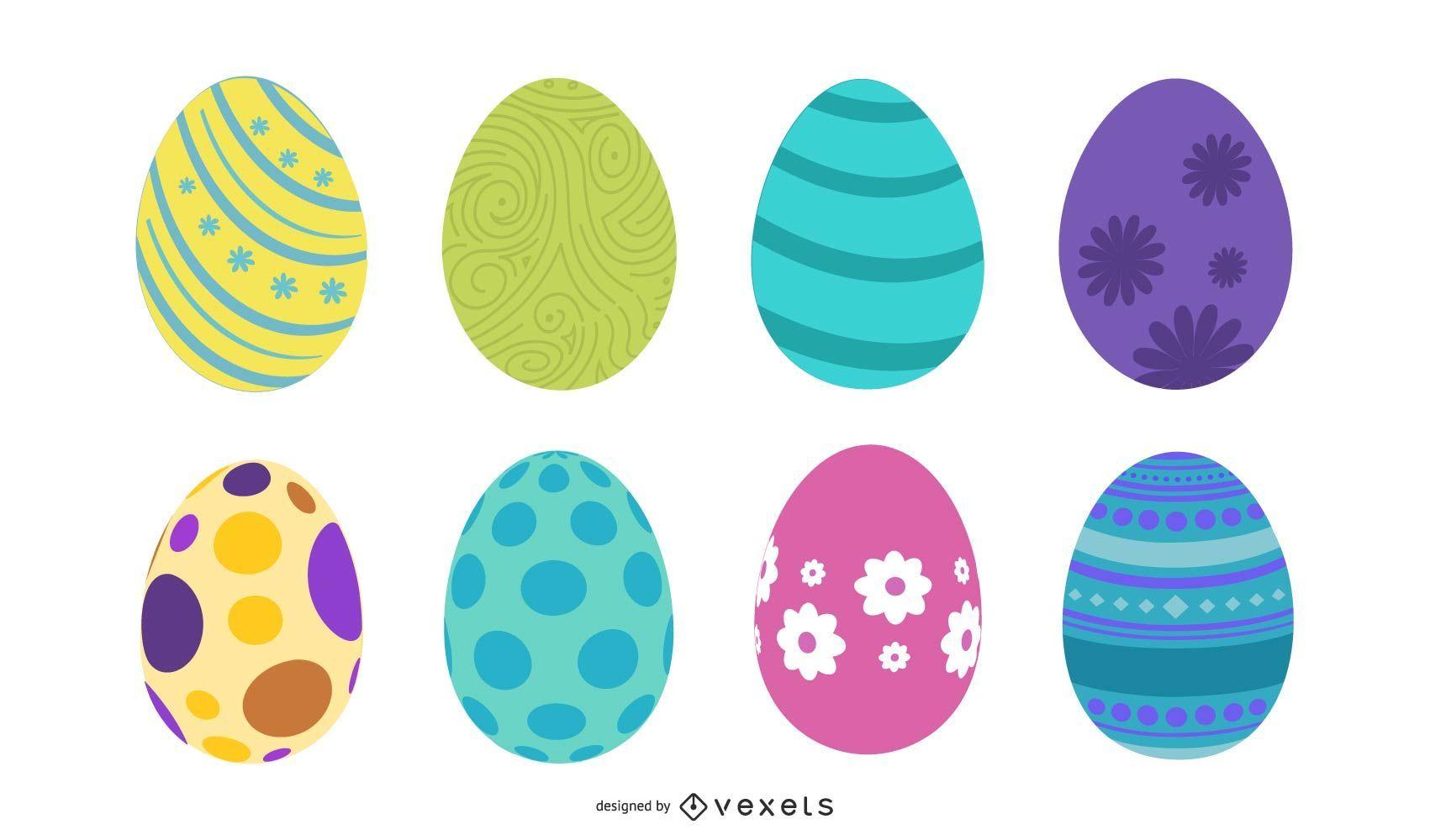 Conjunto de ilustración de huevos de pascua plana