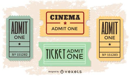 Conjunto de vetores de bilhete de filme vintage