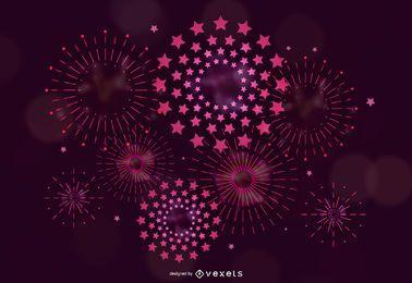 Pink fireworks illstration design
