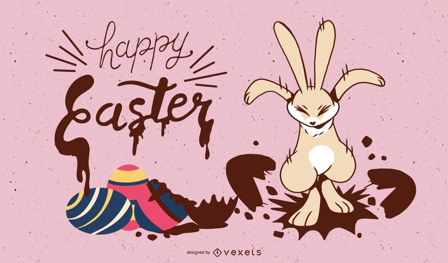 diseño de ilustración de conejito de pascua feliz