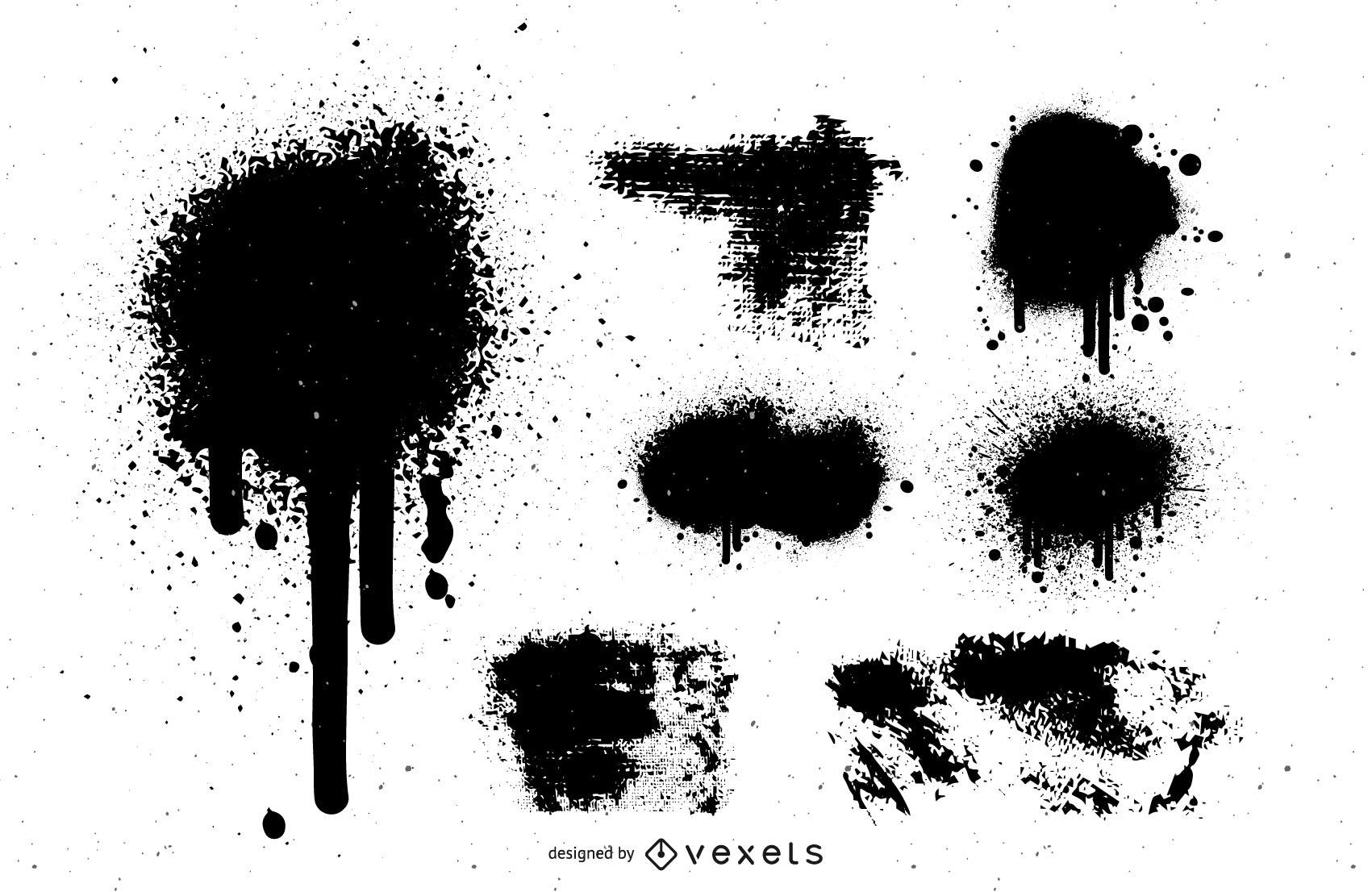 Set of black grunge stains