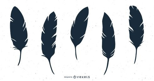 feather silhouette illustration set