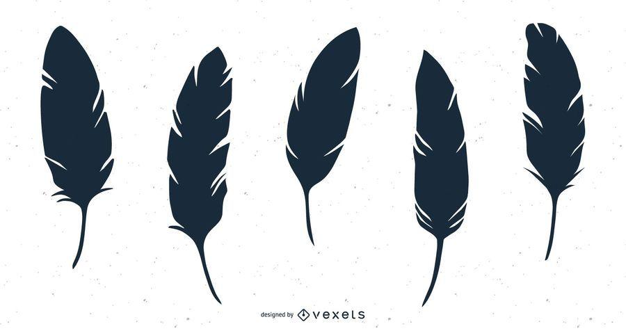 Isolated feather illustration set