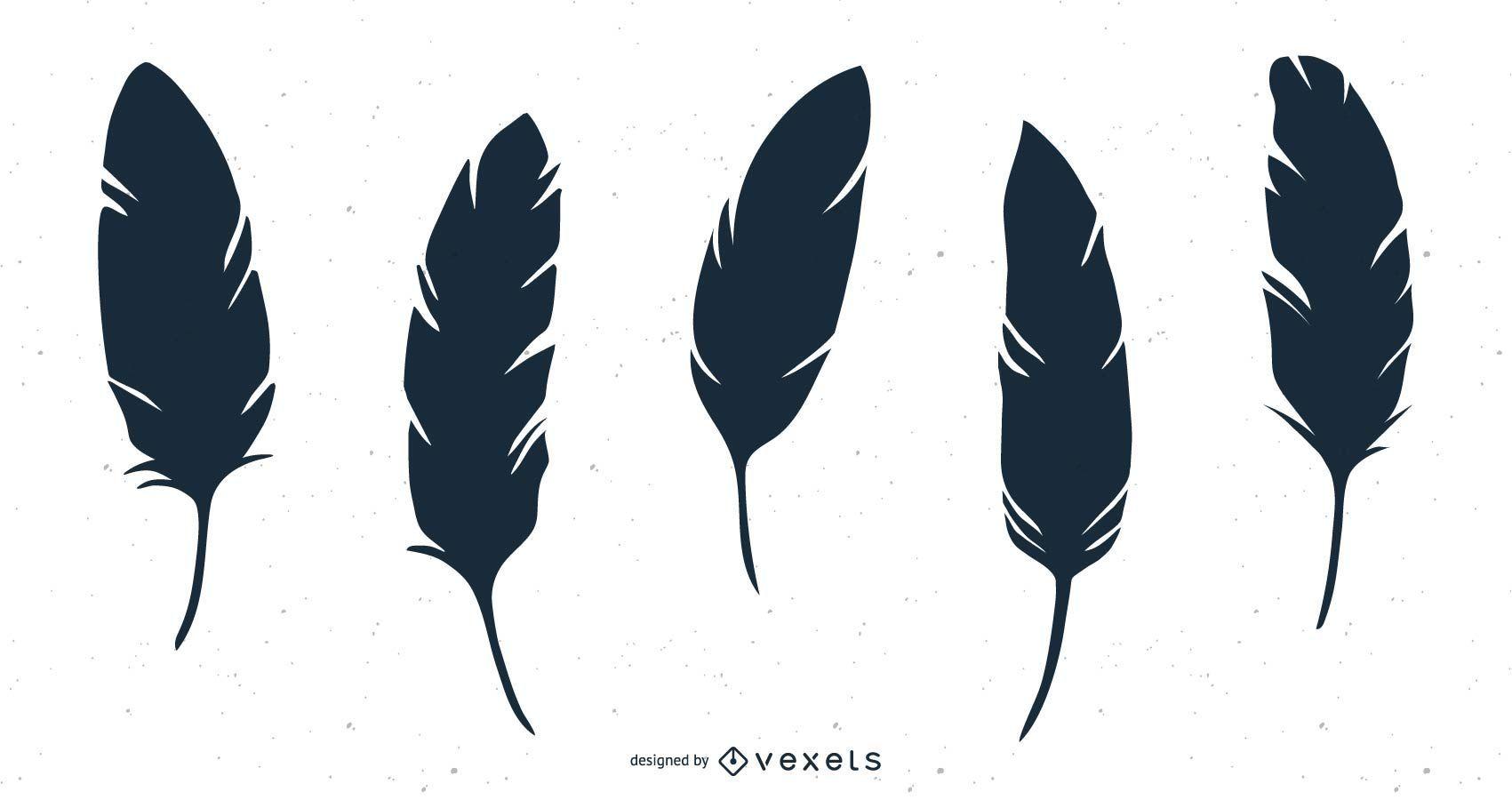 conjunto de ilustración de silueta de pluma