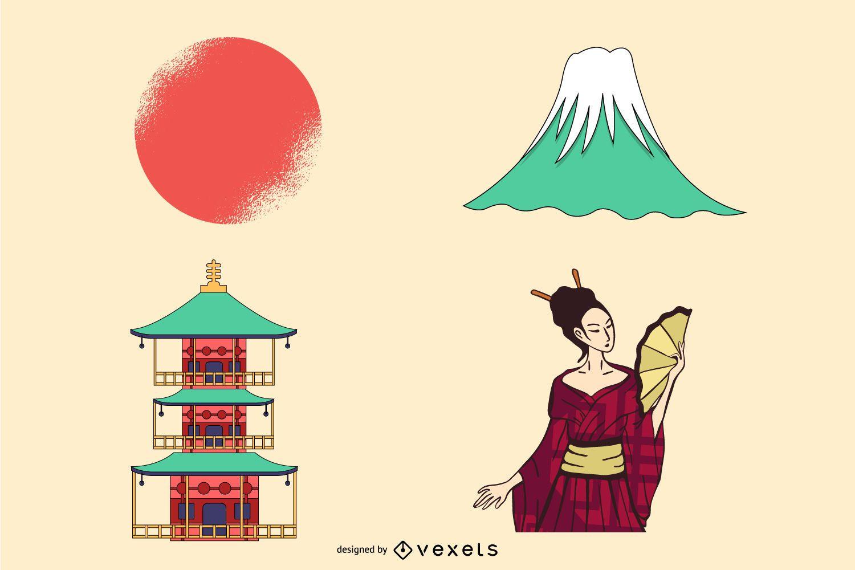 japanese elements illustration design
