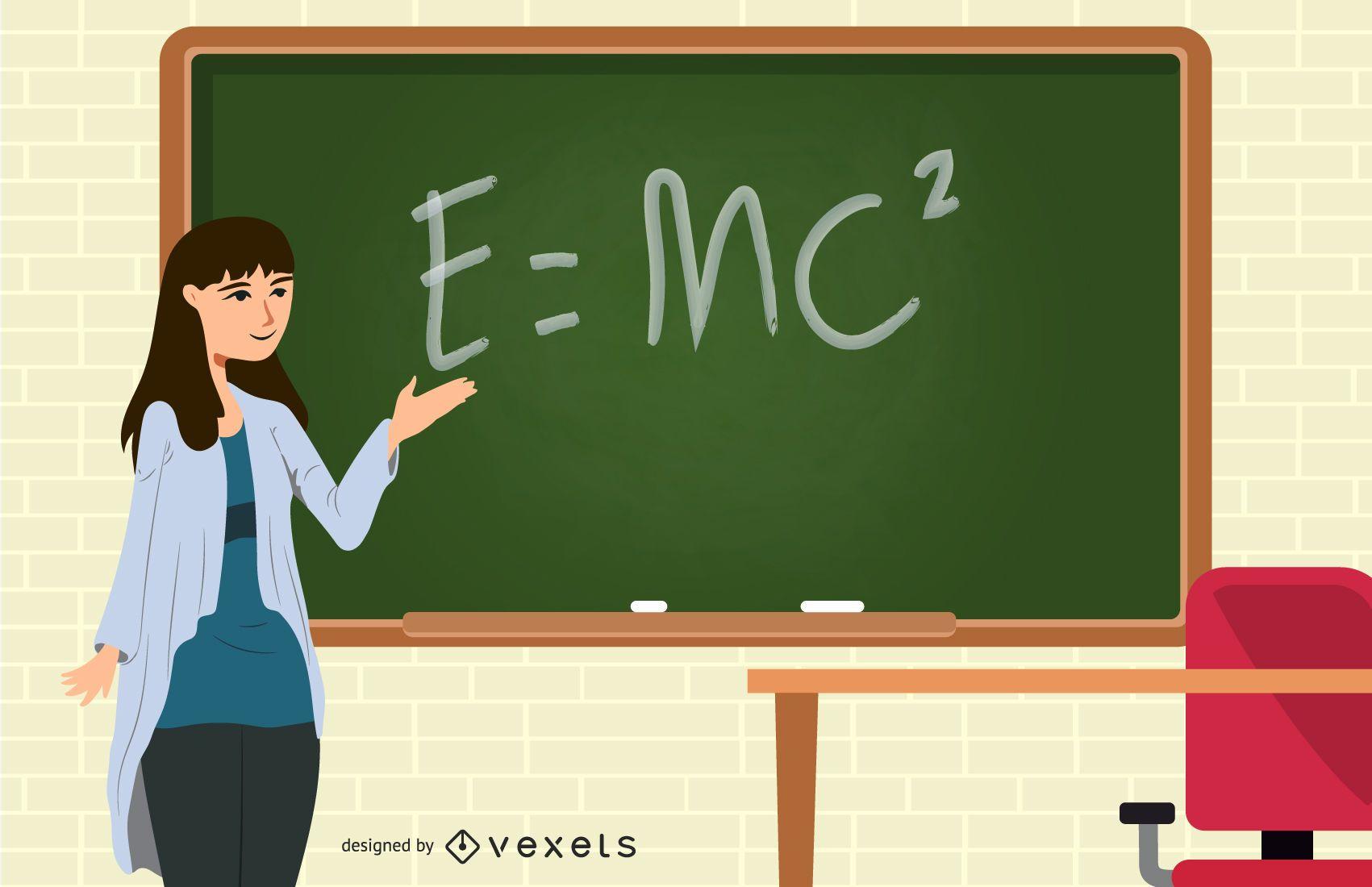 teacher chalkboard equation illustration