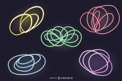 Conjunto de cenário de 8 luzes de néon abstratas