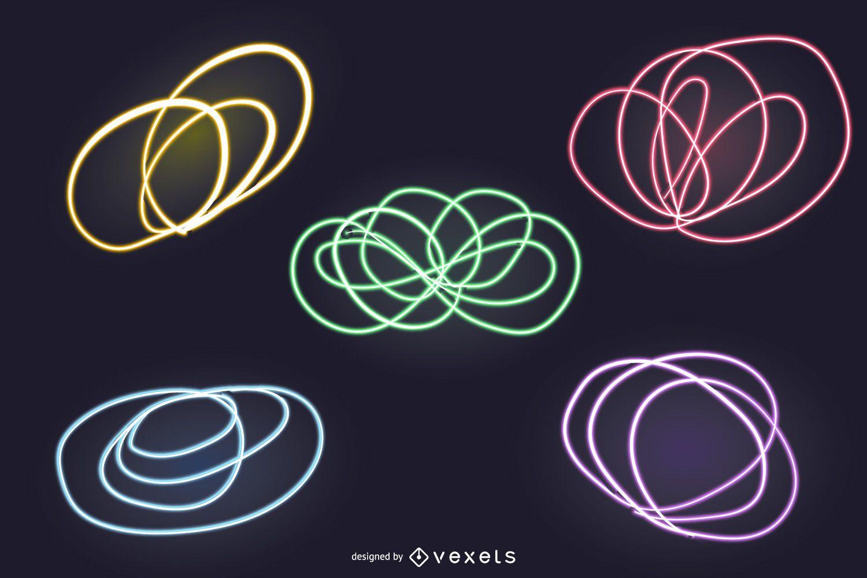 8 abstract neon lights backdrop set