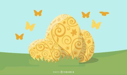 easter golden eggs illustration
