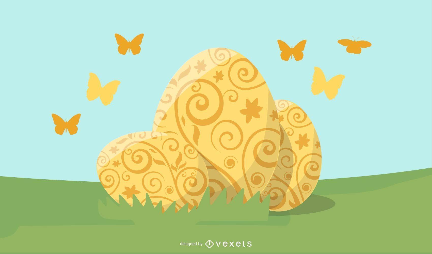 ilustración de huevos de pascua de oro