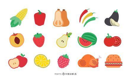Sliced food flat illustration set
