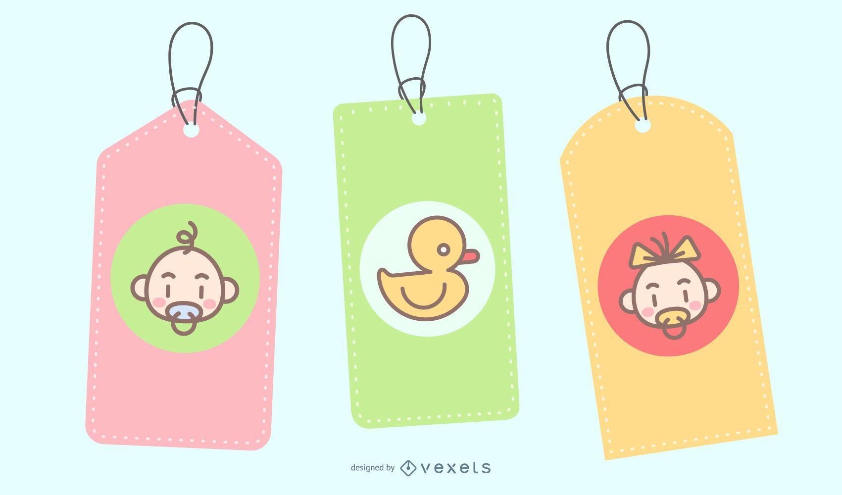 Cute baby tag illustration set