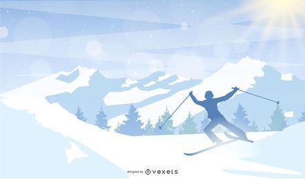 Esqui No Projeto Da Montanha De Neve