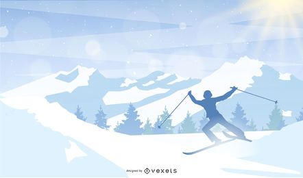 man skiing mountain illustration