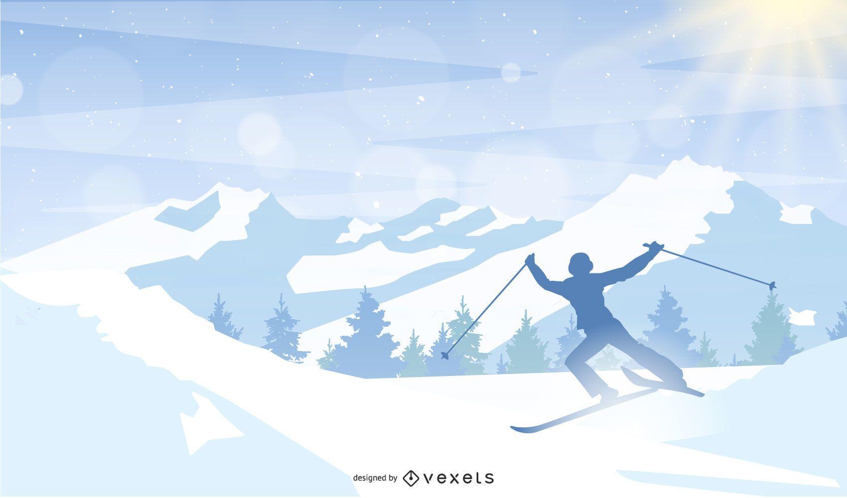 hombre esquiando montaña ilustración