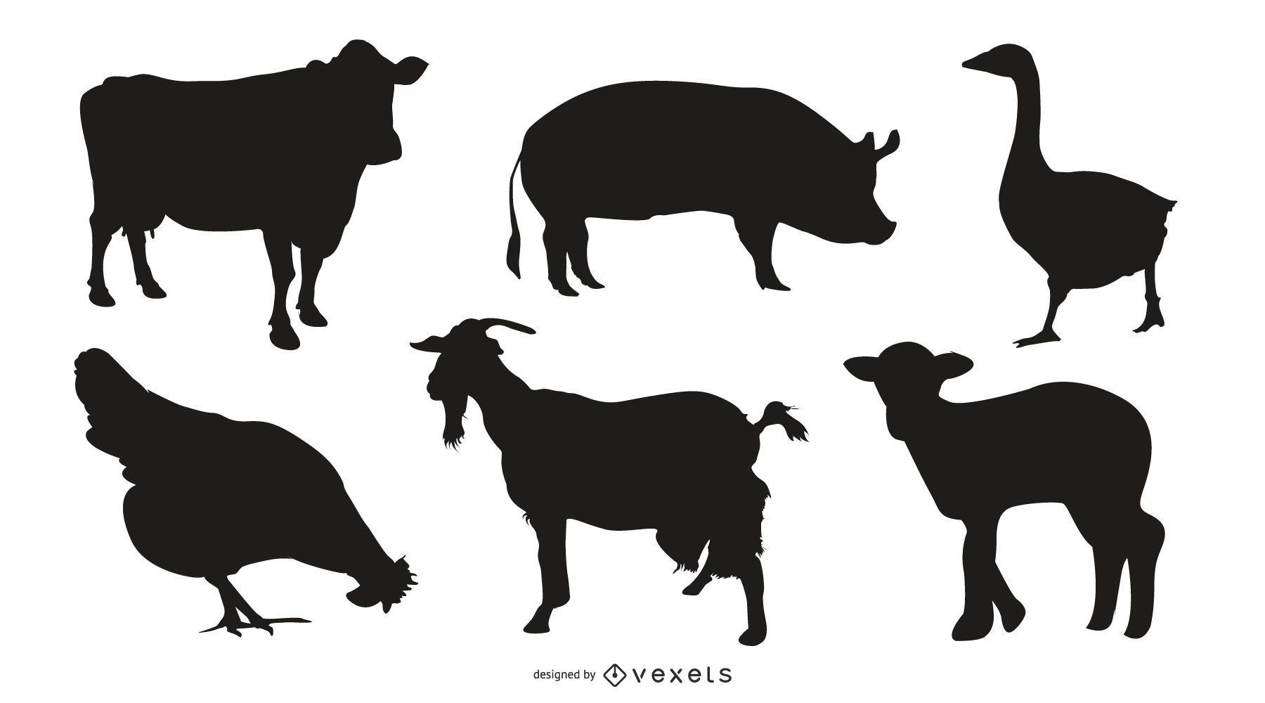conjunto de silueta de animales de granja