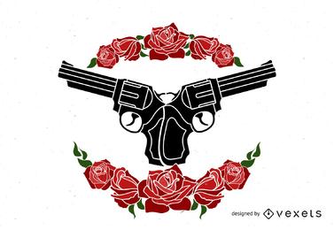 Pistolen und Rosen Design