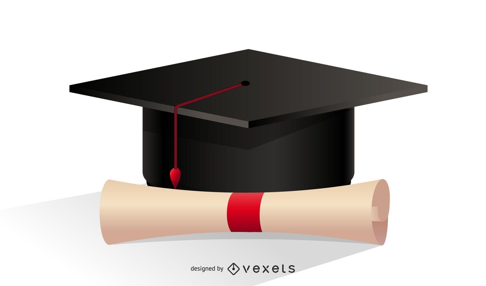 Ilustración de gorro y diploma de graduación