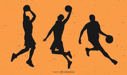 Basketball Player Silhouettes Set