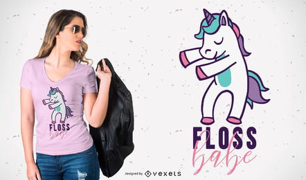 Design do t-shirt do unicórnio de Floss