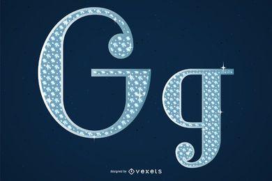 Diamante incrustado en el alfabeto inglés números arábigos y símbolos vectoriales