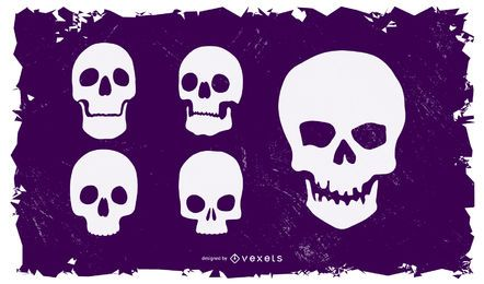 Set of 5 silhouetted skulls