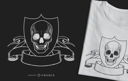 Diseño de camiseta de cresta cráneo