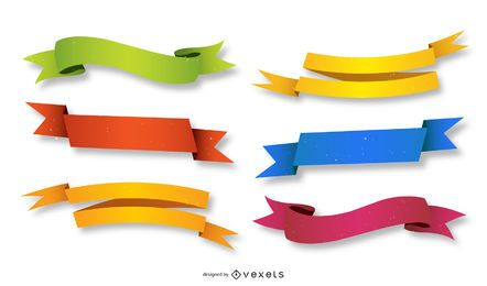 Colorful 3D Ribbons Set