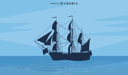 Silhueta de veleiro