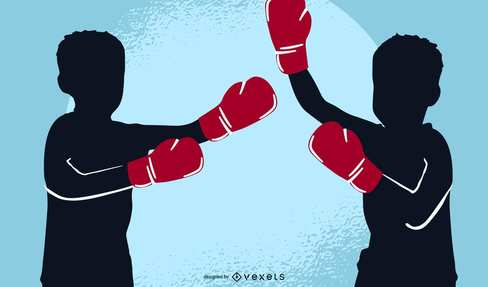 Children Boxing Vector