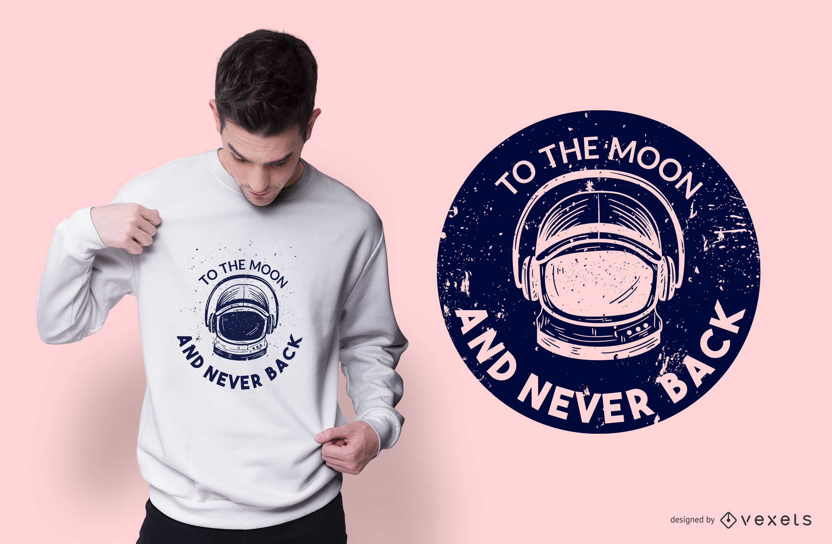 A la luna diseño de camiseta