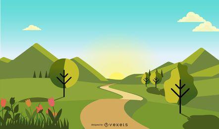Natural Scenery illustration design