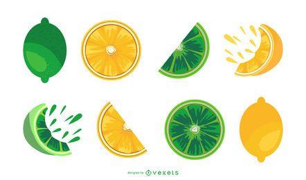 Lime and lemon slices illustration set
