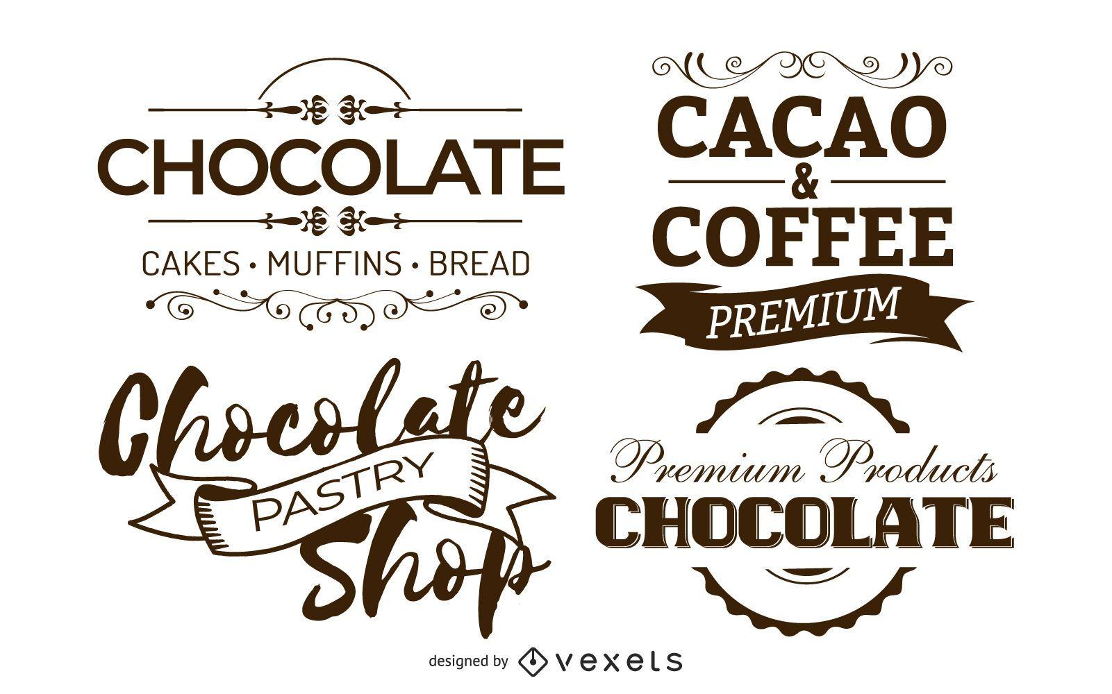 Conjunto de insignias de chocolate vintage