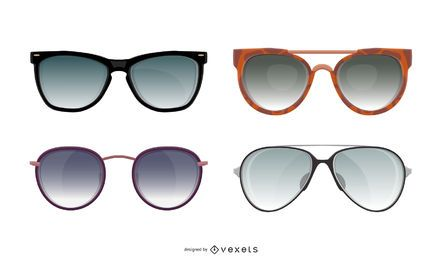 Summer sunglasses illustration set
